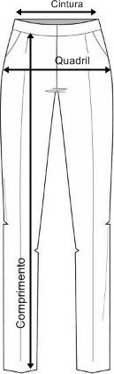 Tabela de medidas calca