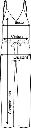 Tabela de medidas macacao