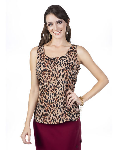 Blusa Regata Animal Print Onça - 05947