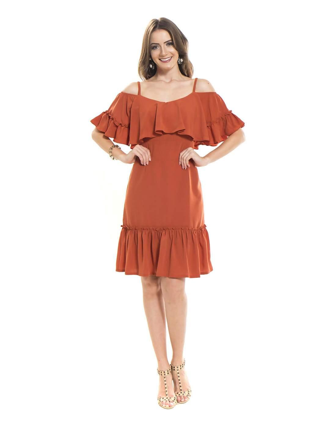 1a16d7c74f Descrição  Vestido soltinho modelo ciganinha